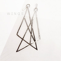 EARRINGS Wings Sterling Silver. Modern and Minimalistic. Hammered. Handmade.