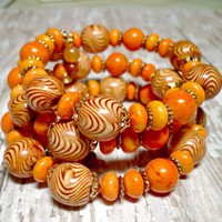Tangerine Tango Magnesite and Wood Bead Boho Wrapped Bracelet