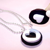 Oreo Cookie - Best Friends Necklaces BFF - Cute Heart Necklace - Chocolate Sandwich Cookie