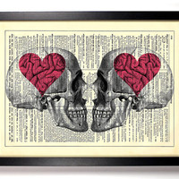 Love On The Brain Skulls Upcycled Dictionary Art Vintage Book Print Recycled Vintage Dictionary Page Buy 2 Get 1 FREE