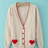 White V Neck with Sweet Heart Poket Sweater$42.00
