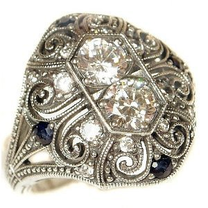 Sterling Silver Art Deco Filigree Cubic Zirconia &amp; Sapphire Ring (sz7): Jewelry
