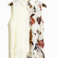 Beige Ink Floral Print Sleevelless Chiffon Sheer Shirt - Sheinside.com