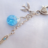 Feather Sparrow Bird Blue Crackle Glass Marble Keychain