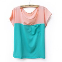 Women Summer New Candy Splicing Casual Loose Pocket Scoop Chiffon Pink T-Shirt One Size@II1014p $10.77 only in eFexcity.com.