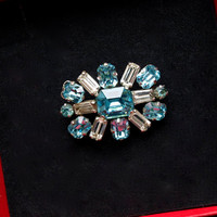 Art Deco Brooch - 1920s 1930s Brooch  - C Clasp - Teal Blue And Clear Rhinestone Pin - Vintage Brooch - Vintage Jewellery  - Gift Boxed