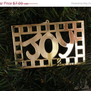 """On Sale One mirrored acrylic laser cut ornament """"Joy"""" color choice, approx. size 4"""" x 2-1/2"""""""
