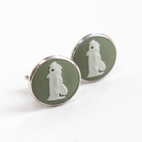 Vintage Wedgwood Sterling Silver Andromache Cameo Earrings - Round Green Jasperware Greek Mythology Clip On Jewelry Hallmarked JW, England