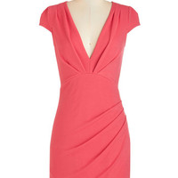 ModCloth Mid-length Cap Sleeves Sheath The Mingle Life Dress in Coral
