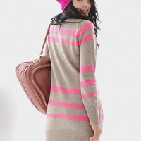 Khaki Stripe Cardigan Dress Sweater $38.00