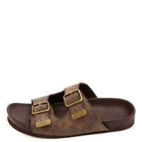 Soda Buckled Footbed Slide Sandals by Charlotte Russe - Taupe
