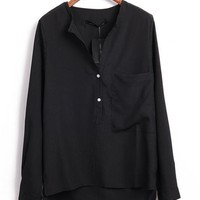 Single Pocket Long Sleeve Shirt Black$38.00