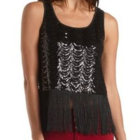 Sequin and Fringe Tank Top by Charlotte Russe - Black Combo