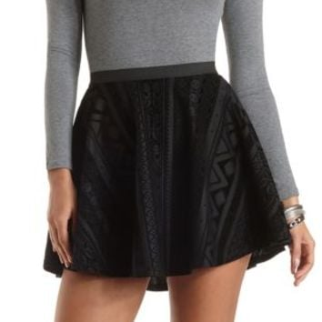 Flocked Velvet Skater Skirt by Charlotte Russe - Black
