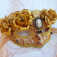 Gold Brocade Masquerade Mask with Cameo and Gold Flowers