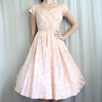 1950s PEACH Brocade New Look Cocktail Dress by adVintagous on Etsy
