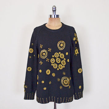 Vintage 80s 90s Black Gold Bead Sweater Jumper Top Sequin Sweater Trophy Sweater Oversize Sweater Slouchy Sweater 80s Sweater Women S M L