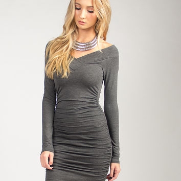 Fitted Bodycon Long Sleeve Dress - Charcoal - Charcoal /
