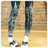 Black City Leggings - Womens Black Legging tights - MEDIUM