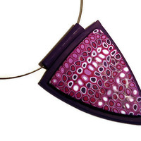 Retro pink and purple polymer clay pendant