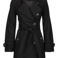 Military style coat with asymmetric front closure
