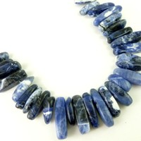 Sodalite Gemstone Stick Nugget Beads Set of 29 Grade C