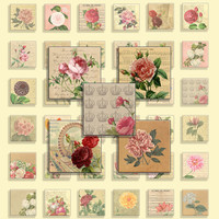 Digital Collage Sheet -  Vintage Flowers -  Botanical illustrations - 48 different designs - 1 inch x 1 inch ( 25 mm) squares