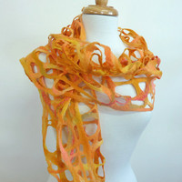Tangerine Scarf. Felt Wool Scarves. Orange Lattice Web.