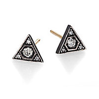 ila&i - Triaza Diamond, 14K Yellow Gold & Sterling Silver Triangle Stud Earrings - Saks Fifth Avenue Mobile