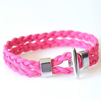 Velvet Leather Braided Bracelet - Hot Pink