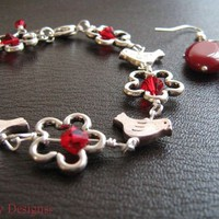 Birdie Bracelet with natural ruby gemstone earrings - by OliveBayDesigns on madeit