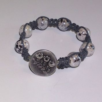 Handmade Shamballa Style Bracelet With Gray Hemp