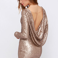 Crossed the Line Gold Sequin Dress