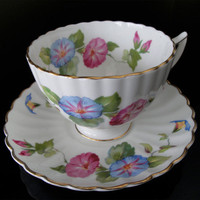 Vintage Tea Cup and Saucer Set is signed Radfords England number 8373A Designed in Morning Glory pattern Pink and Blue flowers and gold trim