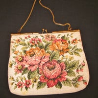 Vintage German Brocade Ladies HandBag/Clutch With Chain