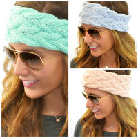 Made You Blush Cable Knit Head Wrap