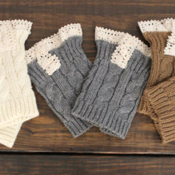 Women's Gift SET of Three Boot Cuffs, Knitted Boot Socks, Lace Boot Cuffs, Leg Warmers, Women's Boot Cuffs, Boot Toppers, Women's Boot Socks
