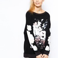 Wildfox Baggy Oversized Sweatshirt With Floral No.9 Print at asos.com