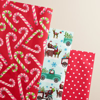 Retro Santa Candy Cane Wrapping Paper Roll, 3-Pack - World Market