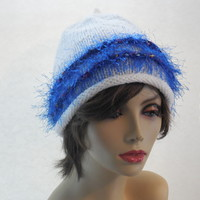 White Cloche with Blue Trim by IllusionsbyDonna on Zibbet