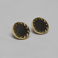 House of Harlow Sunburst Button Earrings with Black Leather in Black