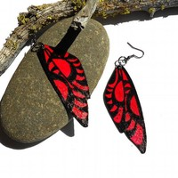 Wing earrings painted wood in red and black wood jewelry