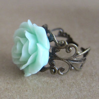 Mint Green Rose Ring Pastel Green Seafoam Green Light Green Pale Green Floral Ring - L&#x27;amour - Antique Brass Filigree