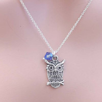 Silver Necklace-Antique Silver Finish Pewter charm and Swarovski Birth stone-everyday Necklace