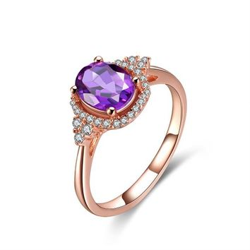 Magic Pieces Rose Golden Plated Sterling Silver Ring with Oval Amethyst and CZ J1122