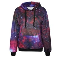 IYZF Women's Punk And Rock 3d Printing Red Galaxy Hooded Sweatshirts