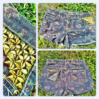 Gold Studded Floral Denim Shorts (ON SALE)