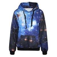 IYZF Women's Punk And Rock 3d Printing Blue Galaxy Hooded Sweatshirts