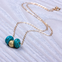 "Turquoise necklace, bridesmaid necklace, gold filled necklace, turquoise and gold, bridesmaid jewelry, best friend necklace,wedding, ""Macris"