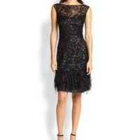 enabled: truelabel: DKNY-Feather-Trim Lace Dress